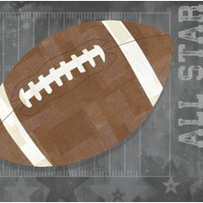 'Football All Star' by Vicky Barone Graphic Art on Canvas in Gray