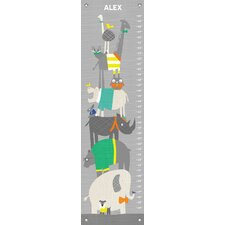 """'Happy Animal Herd Technicolor Personalized"""" by Vicky Barone Growth Chart"""