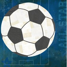 'Soccer All Star' by Vicky Barone Graphic Art on Canvas in Blue