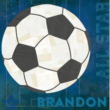 """""""Soccer All Star Personalized"""" by Vicky Barone Graphic Art on Canvas in Blue"""