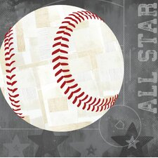 'Baseball All Star' by Vicky Barone Graphic Art on Canvas in Gray