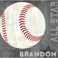 'Baseball All Star' by Vicky Barone Personalized Graphic Art on Canvas in Gray