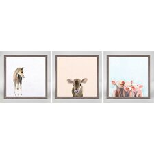 Sweet Animals by Cathy Walters 3 Piece Framed Painting Print on Canvas Set (Set of 3)