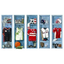 5 Piece Sports Lockers Peel and Place Wall Decal Set