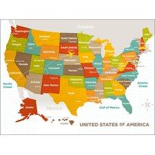 Wood Grain US Map Canvas Art