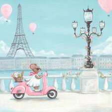Little Pink Vespa Canvas Art
