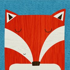 Retro Animals Fox by Rebecca Elliott Canvas Art