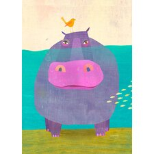 Happy Hippo by Melanie Mikecz Canvas Art