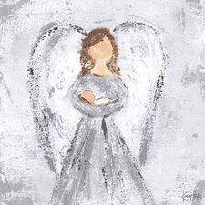 'New Blessings Angel' by Kasey Hope Painting Print on Canvas in Silver