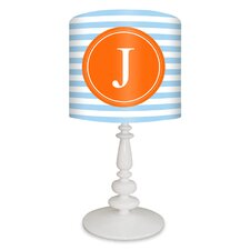 """Striped Monogram 21"""" H Table Lamp with Drum Shade"""