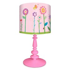 """Flower Garden Table 21"""" H Lamp with Drum Shade"""