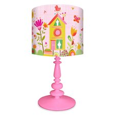 """Pretty Flowers 21"""" H Table Lamp with Drum Shade"""