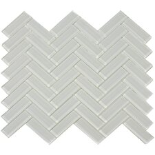 "3"" x 1"" Herringbone Shiny Tile in Mist"