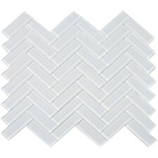 "3"" x 1"" Herringbone Shiny Tile in Snow"