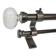 North Branch Crackle Knob Telescoping Double Curtain Rod and Hardware Set
