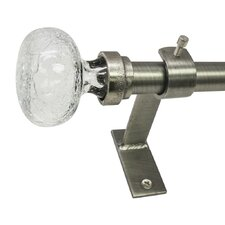 North Branch Crackle Knob Single Curtain Rod and Hardware Set