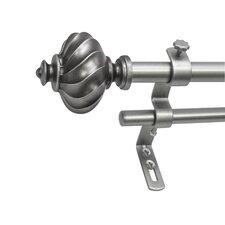 Montevilla Core Ribbed Knob II Telescoping Double Drapery Rod Set