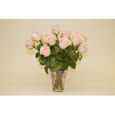 Light Pink Roses in Glass Vase