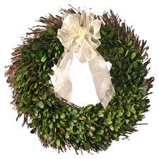 30cm; Willow and Boxwood Leaf Wreath