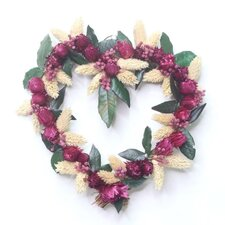 20cm; Grapevine, Dried Flower and Leaf Wreath