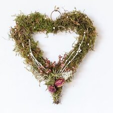 Heart 18cm; Grapevine, Dried Flower and Moss Wreath