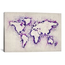 """Map of the World (Purple) Paint Splashes"" by Michael Thompsett Painting Print on Wrapped Canvas"