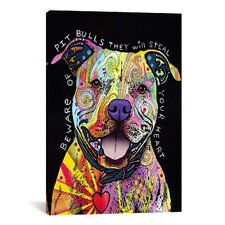 'Beware of Pit Bulls' by Dean Russo Graphic Art on Wrapped Canvas