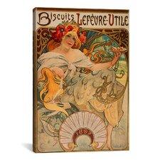 'Biscuits Lefevre Utile' by Alphonse Mucha Vintage Advertisement on Canvas