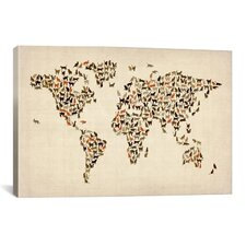 'Cats World Map II' by Michael Tompsett Graphic Art on Canvas