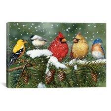 """Decorative Art """"Backyard Birds on Snowy Branch"""" by William Vanderdasson Graphic Art on Canvas"""