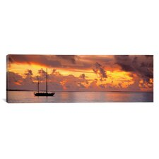 Panoramic Boat at Sunset Photographic Print on Canvas