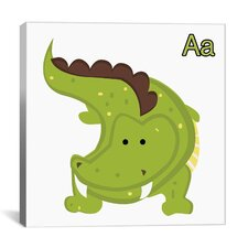 Kids Art A is for Aligator Graphic Canvas Wall Art