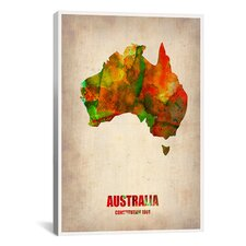 Naxart Australia Watercolor Map Graphic Art on Canvas