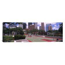 Panoramic Basketball Court with Skyscrapers in Houston, Texas Photographic Print on Canvas