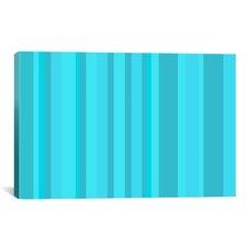 Striped Aqua Torquise Cyan Graphic Art on Canvas