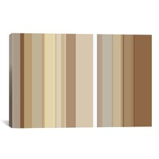 Striped Cafe Mocha Brown Graphic Art on Canvas