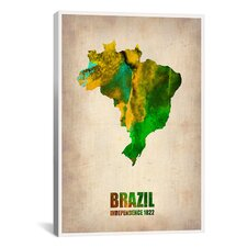 Naxart 'Brazil Watercolor Map' Graphic Art on Canvas
