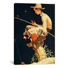 'Boy Fishing' by Norman Rockwell Painting Print on Canvas