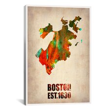 Naxart 'Boston Watercolor Map' Graphic Art on Canvas