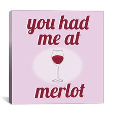 Kitchen You Had Me at Merlot Textual Art on Canvas