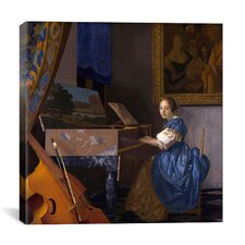 """A Young Woman (Lady) Seated at a Virginal (Zittende Klavecimbelspeelster)"" Canvas Wall Art by Johannes Vermeer"