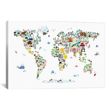 """Animal Map of the World"" by Michael Tompsett Graphic Art on Canvas"