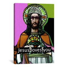 """Jesus Loves Ya"" by Luz Graphics Graphic Art on Canvas"