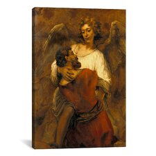'Jacob Wrestling with an Angel' by Rembrandt Painting Print on Canvas