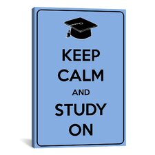 Keep Calm and Study On Textual Art on Canvas