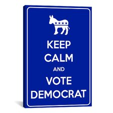 Keep Calm and Vote Democrat Textual Art on Canvas