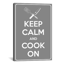 Keep Calm and Cook On Textual Canvas Art