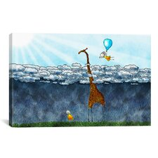 Giraffe Over The Clouds Canvas Art