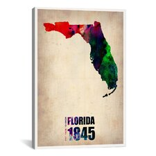 Naxart 'Florida Watercolor Map' Graphic Art on Canvas