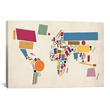 'Geometric World Map Abstract' by Michael Tompsett Graphic Art on Canvas